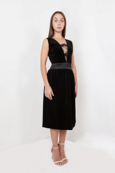 Petite Audrey Dress in Black by Anar London :: BombPetite.com