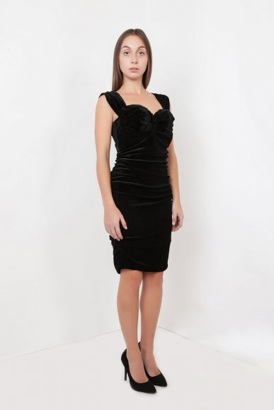 Petite Monroe velvet dress by Anar London :: BombPetite.com