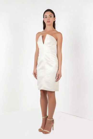 Petite Nina strapless dress in cream by Anar London :: BombPetite.com