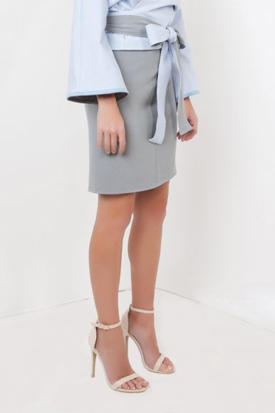 Petite Shikaku Skirt in Grey by Narrow Arrow :: BombPetite.com