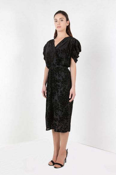 Petite drape dress in black by A-MM-E STUDIO :: BombPetite.com