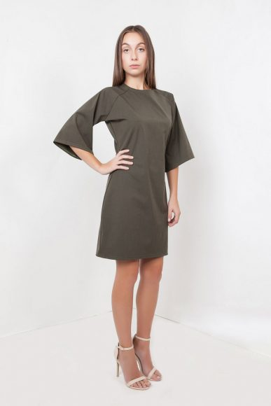 Petite mini Tomoto dress in olive green by Narrow Arrow :: BombPetite.com