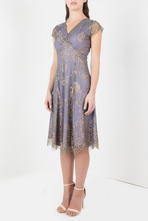 PETITE Kristen dress in bronze and violet lace by Nancy Mac :: BombPetite.com