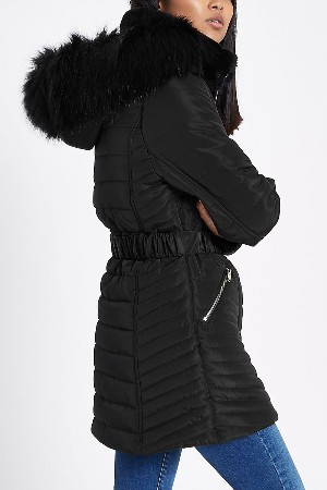 petite black padded winter coat