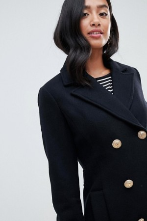 petite military double breasted coat