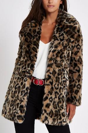 faux fur leopard print petite