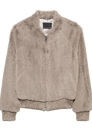 faux fur taupe bomber jacket petite