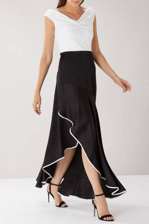 coast black and white bardot maxi dress