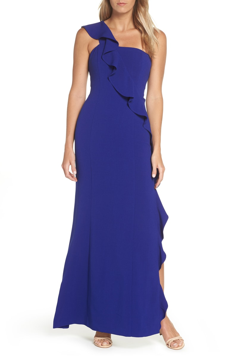 one shoulder blue petite maxi dress