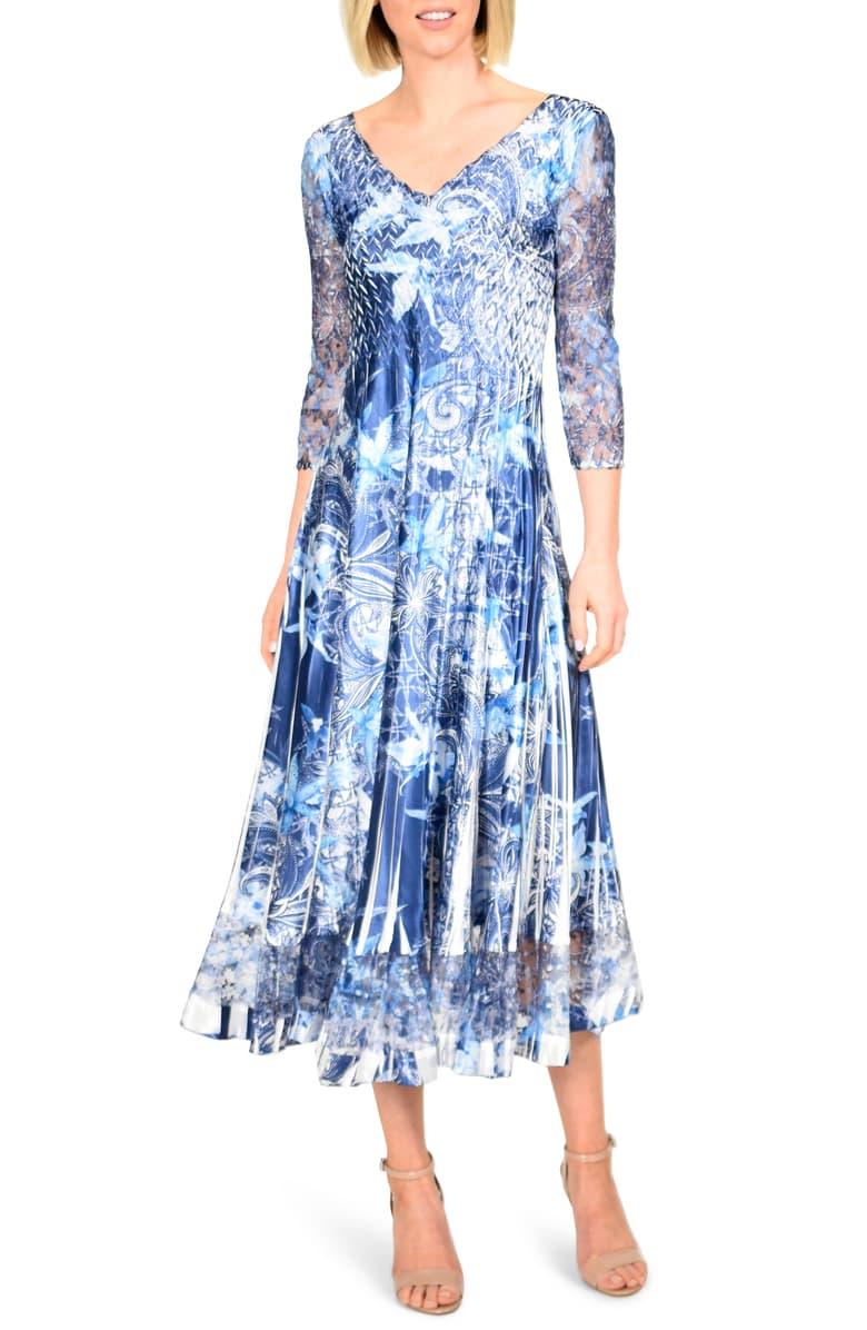 komarov-floral-print-charmeuse-tea-length-dress-petite